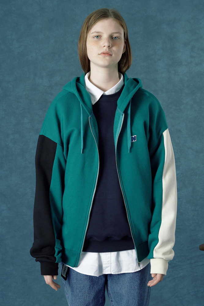 [Hot summer 35%Sale 6.21 - 6.27]  n-patch hoodie zipup-emerald