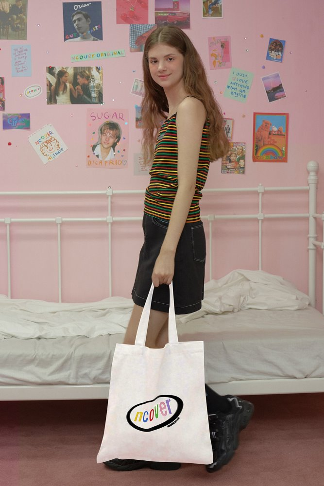 [기간한정세일 07.03 - 07.09][N]Rainbow logo eco bag-white