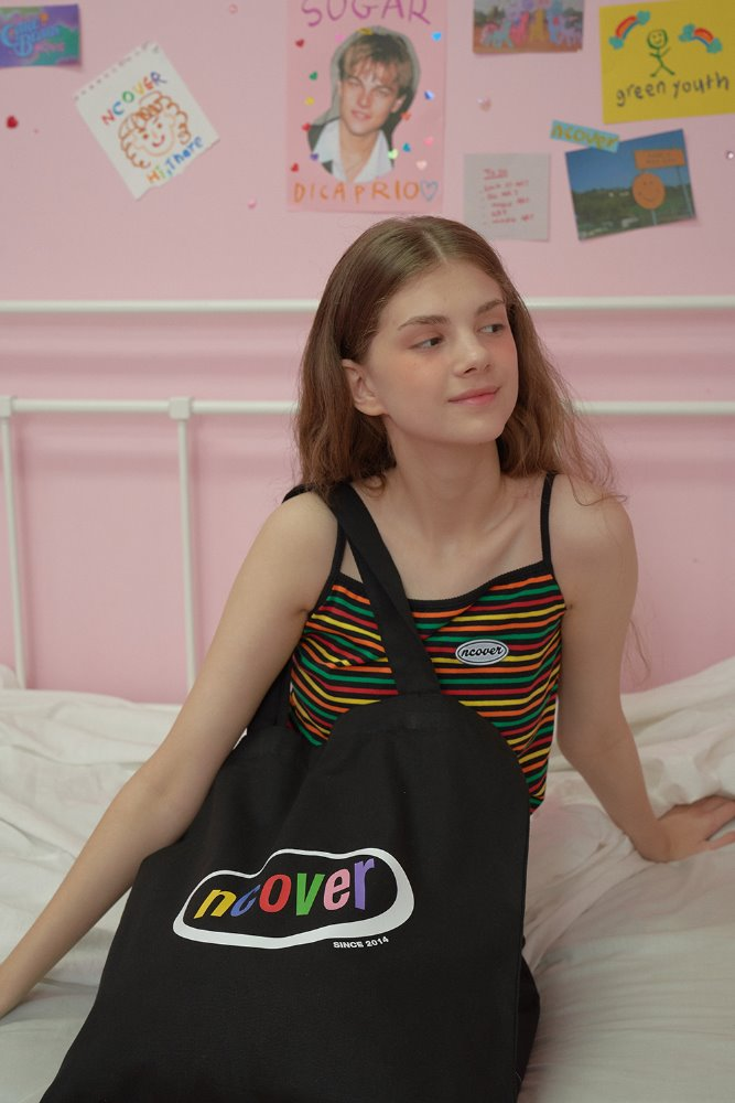 [기간한정세일 07.03 - 07.09][N]Rainbow logo eco bag-black
