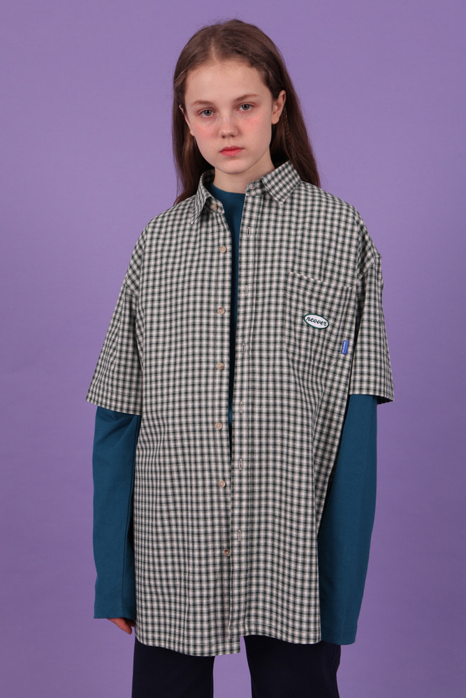 [앤커버] Ncover short sleeve check shirt-green[4월 25일 예약배송]